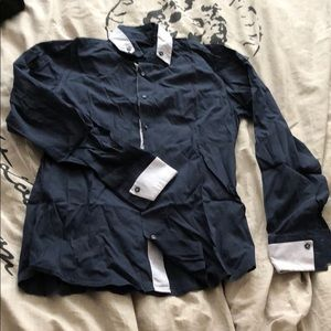 Navy blue button down